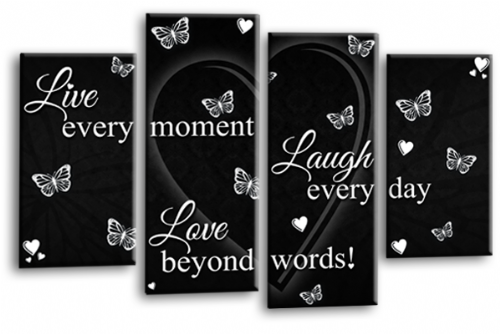 Love Quote Canvas Wall Art Picture Live Laugh Print Black White